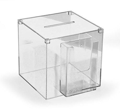Hansen Losbox / Einwurfbox / Spendenbox / Sammelbox / Aktionsbox aus Acryl / Acrylglas (Plexiglas) mit Broschürenhalter 200x200x200 mm