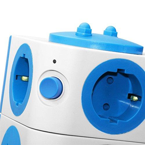 Enchufe Multiple Safemore de Base Regleta Toma de Corriente con 2 Puertos 7 Enchufes Schuko Socket Compact Power Strip Retardante ABS Copper Bar Cable del Adaptador Interruptor de Encendido(Azul)