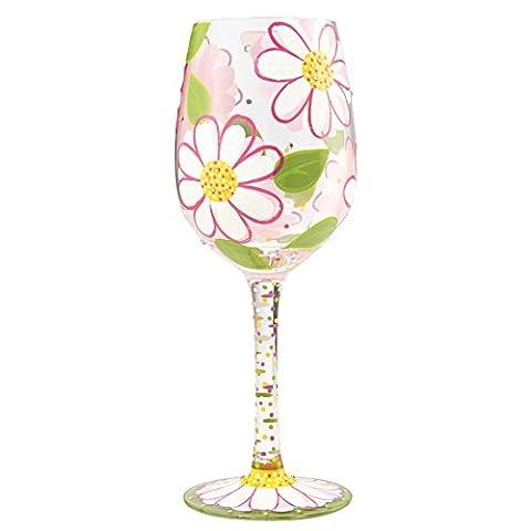 Lolita 6000026 Fleurs Roses Verre à Vin Verre Multicolore 8 x 8 x 22 cm
