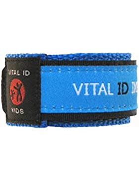 Kinder / Kids Vital ID Armband - medizinischer Notfall & Identität Stoff blau - Child ID EU / UK