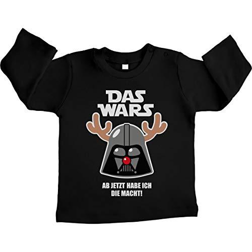 (Shirtgeil Xmas Das Wars Jetzt hab ich die Macht Rentier Unisex Baby Langarmshirt Gr. 66-93 6-12 Monate / 76 Schwarz)