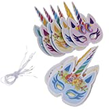 Fenteer 12stk. Glitzer Einhorn Maske Tiermaske Partymaske für Kostüm Zubehör und Fotografie Requisite