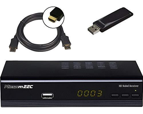 Microelectronic Micro m22c Full HD DVB-C Kabelreceiver + HDMI Kabel + 16GB USB Stick (HDMI/SCART/USB/LAN (RJ45), PVR Ready, Mediaplayer) schwarz