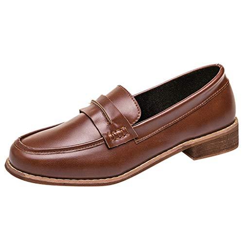 (Yvelands Frauen Lässige runde Zehe Schuhe Leder Slip-On Ferse Quadratische Ferse Auto Einzelne Schuhe(CN-38,Braun))