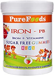 PureFoods IRON-PB Iron + Vitamins Sugar Free Gummies For Kids with Prebiotics, 60 Gummies