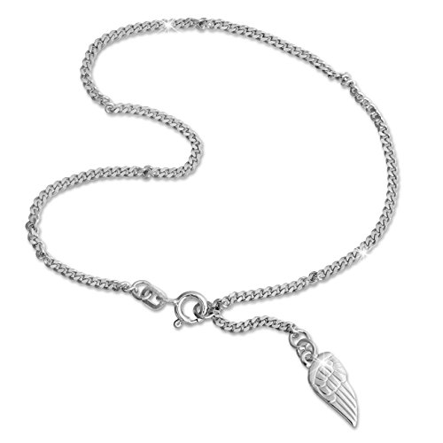 SilberDream Fußkette silber für Damen 925 Silberschmuck Flügel 26cm SDF003