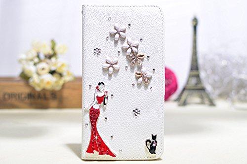 Coque iPhone 5C , iNenk® Sac à main Case w/carte ID titulaire blanc luxe 3D la main paillettes Bling diamant perle Crystal portefeuille pochette carte-Ange Fée Robe Fille