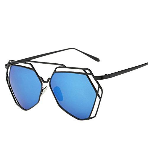 YAANCUN Damen Klassische Metallrahmen Spiegel Sonnenbrille Cat Eye Brillenmode Blau