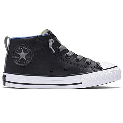 CONVERSE 654324C black nero gray pelle ct street mid elastico lacci 35