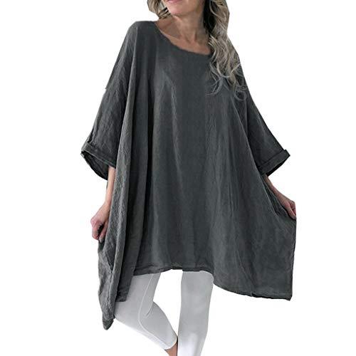 CAOQAO Sweatshirt Damen Baumwolle Leinen T-Shirt Rundhals Ausschnitt Batwing Halbes HüLsen Hemd UnregelmäßIger Rand BeiläUfige Lose Bluse