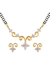 Archi Collection Gold & Rhodium Plated Jewellery American Diamond Mangalsutra Pendant With Chain And Earrings...