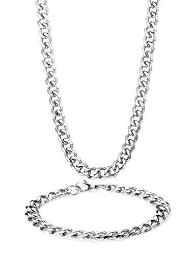 BE STEEL Edelstahl 8MM Halskette Armbänder Set für Herren Damen Kette Armband Curb Glieder Kette Abgeschrägter Kubaner Halskette 56-66 cm Armband 21.5 cm