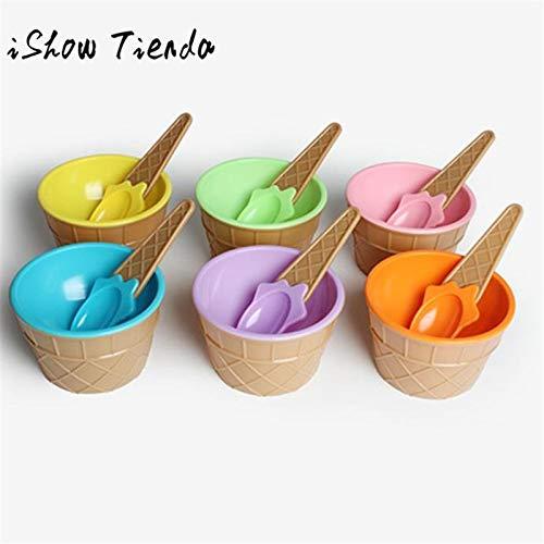 Fiesta ISHOWTIENDA Heiße Kinder Plastik Eisbecher Löffel Set Durable ICE Cream CUP für Kinder Paare Tubs Geschenke Schöne Dessert: USA, blau