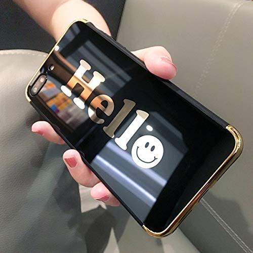 Jinghuash Kompatibel mit iPhone 7/8 Plus Spiegel Hülle Bling Glänzend Glitzer Kristall Mirror Case Schutzhülle Ultra Dünn Durchsichtig Weich Silikon TPU Handyhülle Handytasche-Hello,Schwarz Floral Mirror