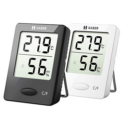 Habor Thermo-Hygrometer EIN Paar Thermometer und Hygrometer, digitales, tragbares Thermometer mit hohen Genauigkeit, Komfortanzeige, Thermo-Hygrometer für Babyraum, Wohnzimmer, Büro,usw. Weiß Schwarz -