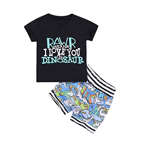 JUTOO 2 Stücke Set Infant Baby Boy Brief Dinosaurier Gedruckt T-Shirt Tops + Shorts Outfit Set (Grün,90)