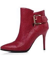 botas de tacón de cuero con estilo/El desnudo de mujer acentuado lado cremallera moda tacones botas/ primavera botas tubo corto de las mujeres