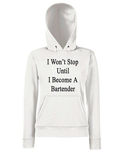 T-Shirtshock - Sweats a capuche Femme BEER0236 I Won t Stop Until I Become A Bartender Blanc