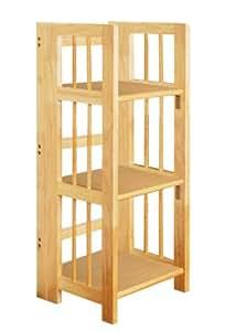 Premier Housewares Rubberwood 3-Tier Folding Shelving Unit - 86 x 39 x 29 cm