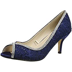 Quiz Damen Diamante Lace Peep Toes Court Toe Pumps, Blau (Marineblau), 39 EU