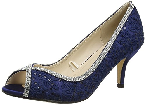 Quiz - Diamante Lace Peep Toes Court, Scarpe spuntate Donna Blue (Navy)