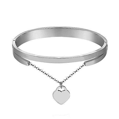 Emma gioielli - bracciale da donna rigido ovale in acciaio stainless steel lucido di alta qualita' con catena catenella cuore piccolo cuore cuoricino amore love - confezione regalo