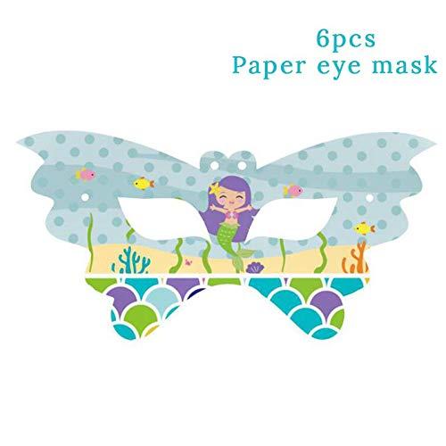 (Meerjungfrau Party Dekoration Pappteller Tassen Servietten Einladungskarten Tischdecke Baby Shower Birthday Party Supplies, 6 Stücke Papier Maske)