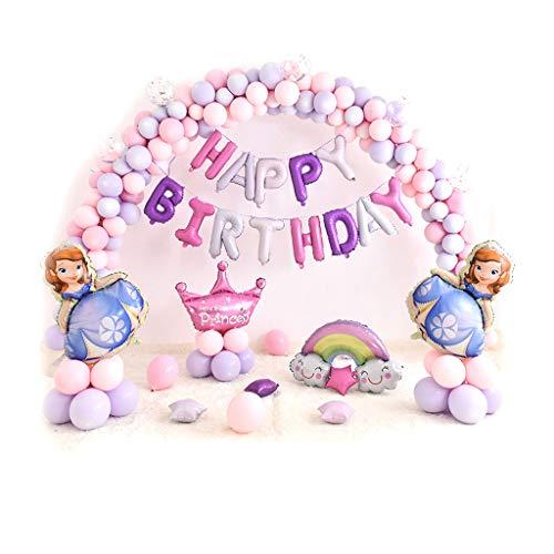 Princess Birthday Party Balloons - Super Form Dekorationen -Princess Sophia, schöne Ballon Bouquet - Gebündelt, Cartoon-Thema Ballon Bögen Kinder Geburtstag Arrangement Party Dekoration Hintergrund-pe