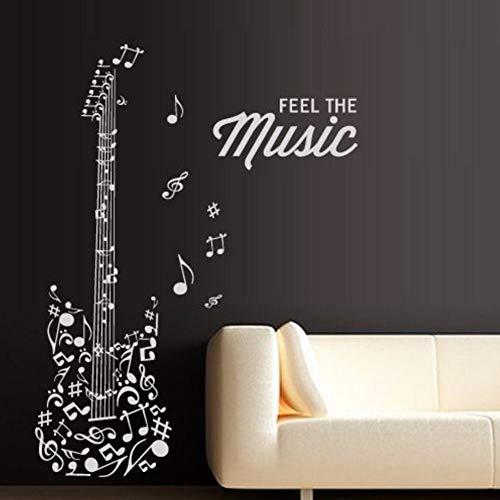 inyl Mode Musik Wandtattoo Gitarre Notizen Melodie Electro Musik Kunst Wandaufkleber Musik Raumdekoration ()