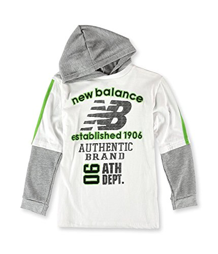 New Balance Boys 2 fer Hooded Graphic T-Shirt (Tee Long Sleeve Thermal Logo)