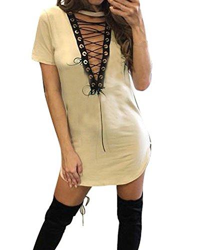 Auxo Femme Sexy Col V Bandage Halter Slim Bodycon Manches Courtes Partie Club Mini Robe Longue Tops Beige
