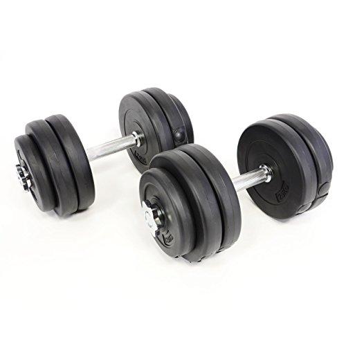 Kurzhantelset Profi Hantel Set Hantelset 30 Kg 12 schwarze Scheiben 2 verchromte Stangen geriffelte Griffflächen 2 - 15 kg Training