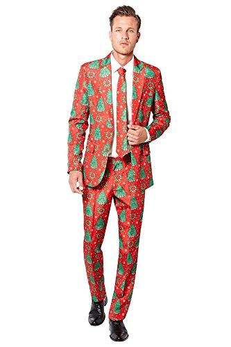 Tannenbaum Anzug Weihnachten Suitmeister Slimline Herren 3-teilig Premium Gr XXL