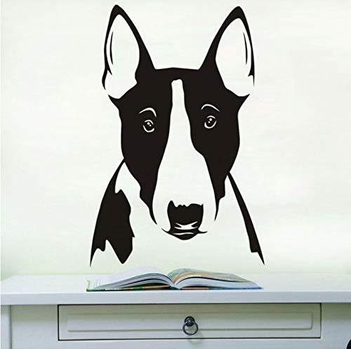 (Wiwhy Wandbild Bullterrier Porträt Vinyl Wandtattoo Niedlichen Hund Kopf Aufkleber Wohnkultur Tier Wandaufkleber Für Kinder Kindergarten 29X44 Cm)