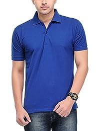 Plain Blue Polo T-shirt 100% Cotton T Shirt For Men's