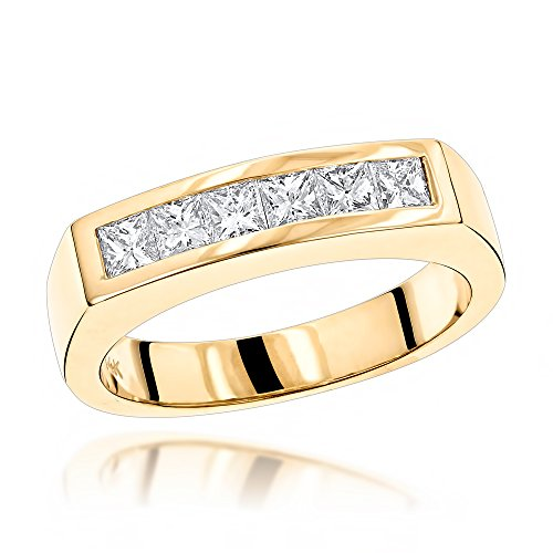 Luxurman Unique 14K Natural 0.6 Ctw Real Diamonds Mens Wedding Band (Yellow Gold Size 11) (Mens Wedding Bands Infinity)