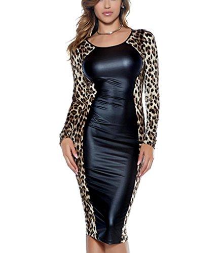 eder Sexy Leopard Print Lange Ärmel Bodycon Kleider Runde Hals Bleistift Kleid Wet Look Clubwear , black , m (Halloween-kostüme Mit Leopard-print)