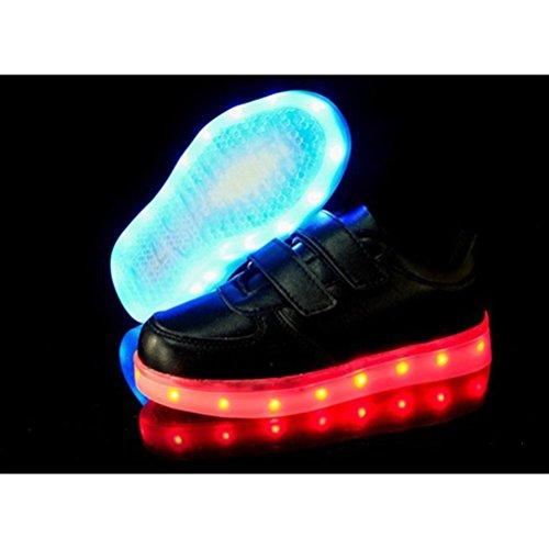 [Présents:petite serviette]JUNGLEST® 7 couleurs Kid Garçon Fille de recharge USB Chaussures LED Light Up Sport lumineux cl Noir