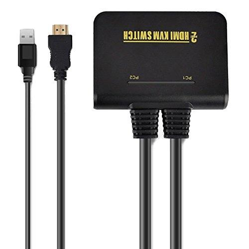 TOOGOO 1X2 Port USB HDMI KVM Umschalter mit Kabel fuer Dual Monitor Tastatur Maus