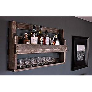 Holz Whiskey Regal mit Gläserhalter fertig montiert Vintage Shabby braun