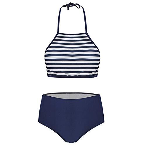 Dawwoti Halter Gestreifte High Rise Bikini Set -