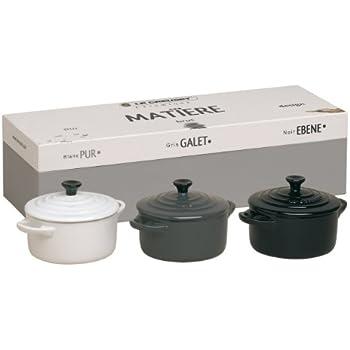 Le Creuset Stoneware Mini Casserole Dishes - Ebony Black/Pebble Grey/Pure White, Set of 3