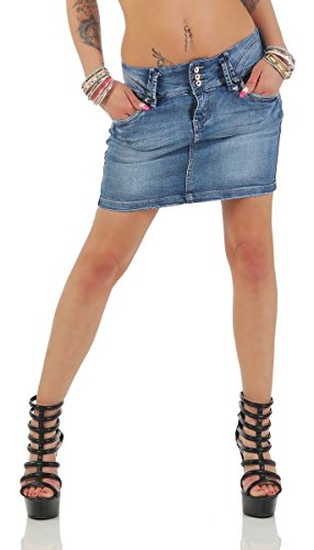 11157 Fashion4Young Damen Jeansskirt Jeansrock Minirock Jeans Mini Rock (XL=42, blau) (Denim-stretch-rock)