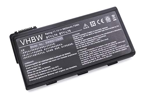 vhbw Batterie LI-ION 6600mAh 11.1V pour MSI CR700-204BE etc. Remplace 957-173XXP-102, BTY-L74, BTY-L75, MS-1682, S9N-2062210-M47 etc.