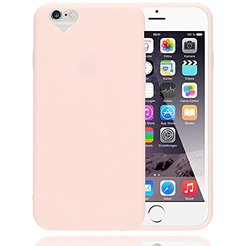 iPhone 6 6S Hülle Herz Handyhülle von NALIA, Silikon Case Schutzhülle Gummihülle, Soft Slim Cover Etui Dünne Handy-Tasche, Ultra-Slim Phone Back-Cover Skin Bumper für Apple iPhone-6, Farbe:Rosa