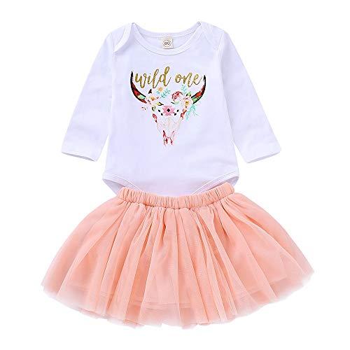 Yanhoo-Kinder Bekleidungsset,Baby Mädchen 2 Stück Halloween Kürbis Print Gestreiftes Langarm Kleid Tüll Festzug Festlich +Haarband Kleidung Set Babyausstattung (70, Weiß-1)