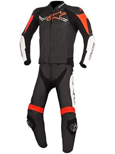 Alpinestars Tuta Moto In Pelle Divisibile Challenger V2 Nero-Bianco-Rosso-Fluore (42 Vita = Eu 58, Nero)