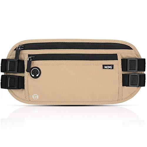 Flache Bauchtasche, WIMI Ultra Große Hüfttasche (33CM * 14CM) Versteckte Wasserdichte Reisetasche, RFID Schutz, Multifunktionales Organisationspaket Als Ausweisbeutel, Geldbörse Für Reisen(BEIGE)