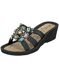 Linea Scarpa KORSIKA Zapatillas baño Sandalias Zapatos informales Mujer con Tacón - gris, 38 EU