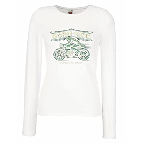 T shirt women Born to Ride, Forced to work - saying shirts for motorcyclists, biker, rider (XX-Large White Multi